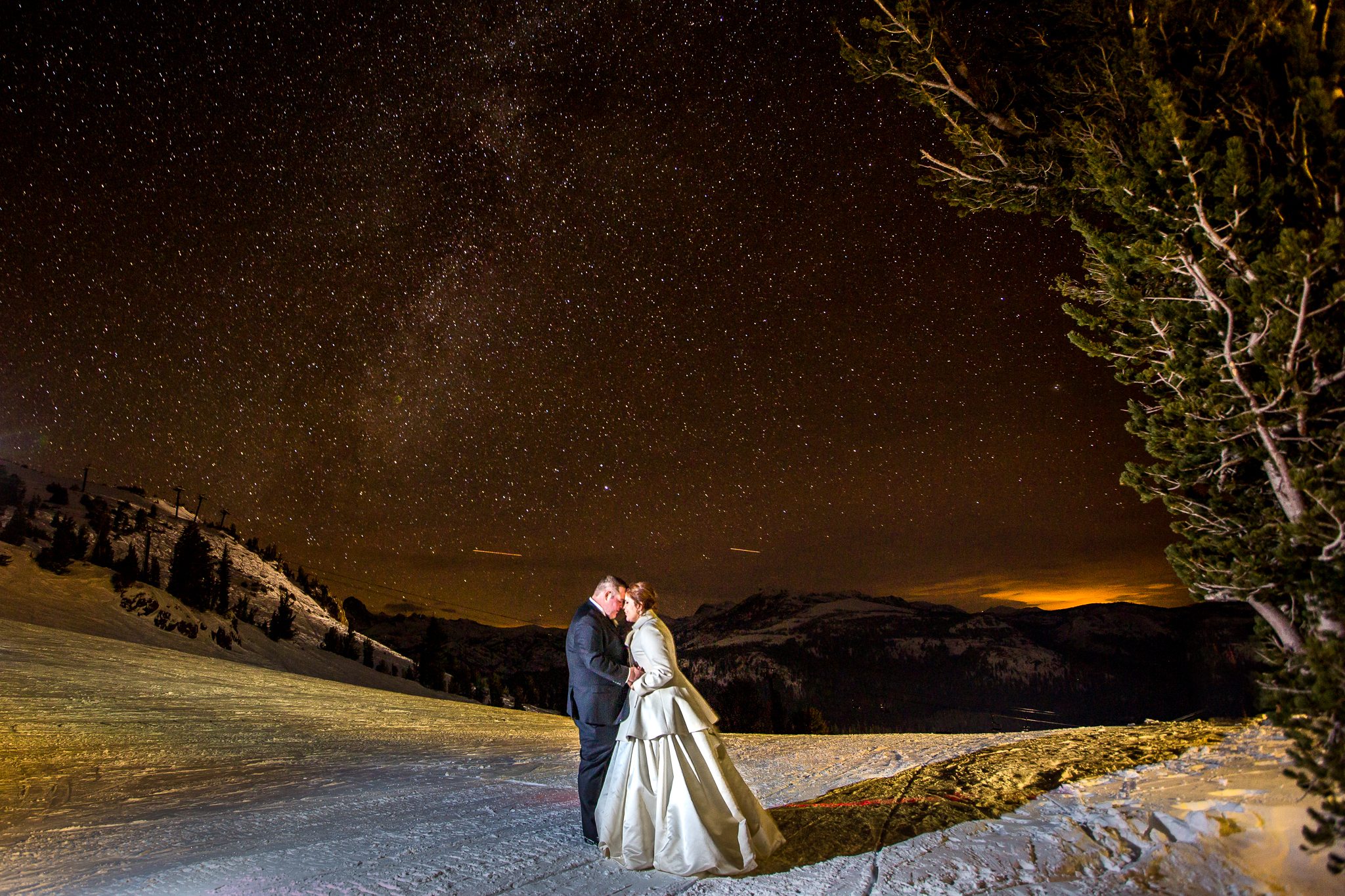 Katherine and her husband at Mammoth Lakes, CA during their wedding in December 2015.