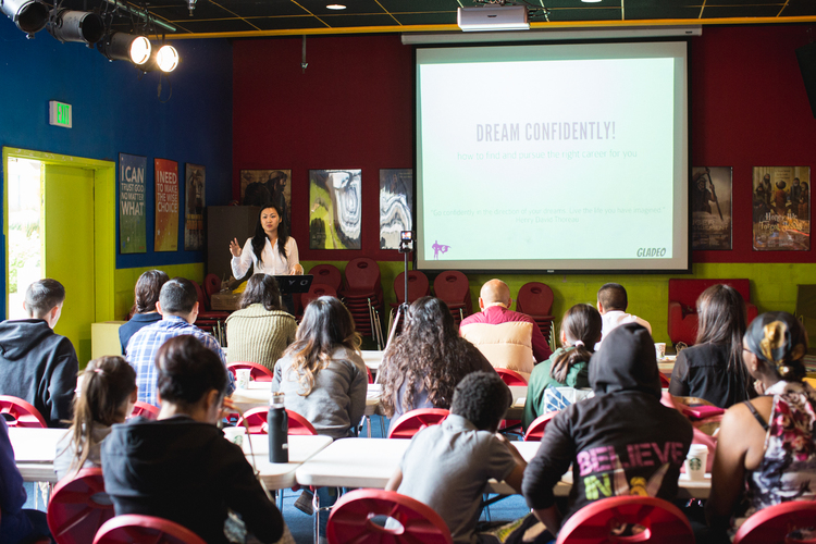 Michelle Cho speaking to kids at Connect Lincoln Heights, a youth organization in East Los Angeles, in May of 2015.